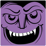 "[Set of 4] 4"" Premium Absorbent Ceramic Square Halloween Party Coaster - Purple Vampire Head"