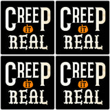 "[Set of 4] 4"" Premium Absorbent Ceramic Square Halloween Party Coaster - Creep It Real"