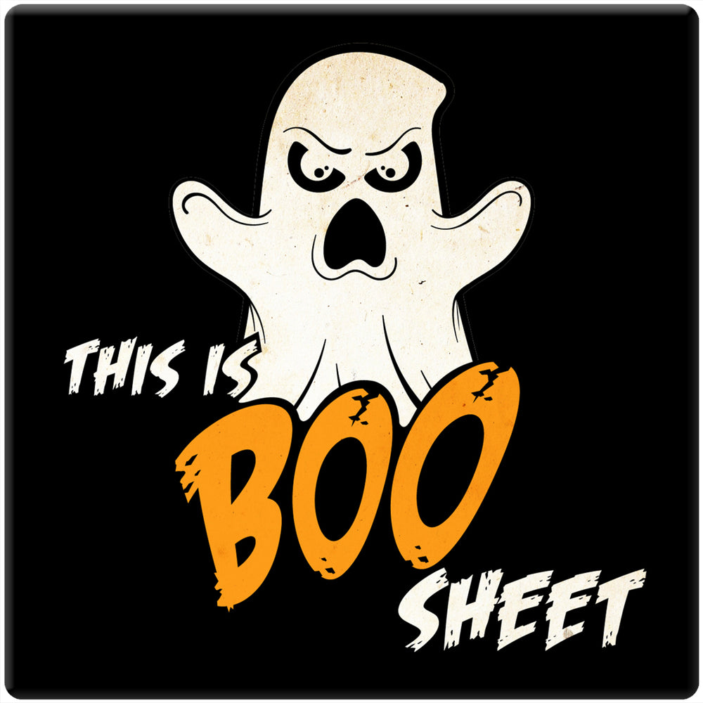 "[Set of 4] 4"" Premium Absorbent Ceramic Square Halloween Party Coaster - This Is Boo Sheet"