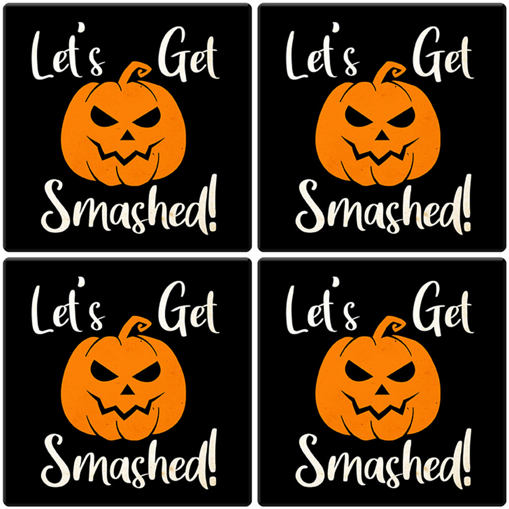 "[Set of 4] 4"" Premium Absorbent Ceramic Square Halloween Party Coaster - Let's Get Smashed"