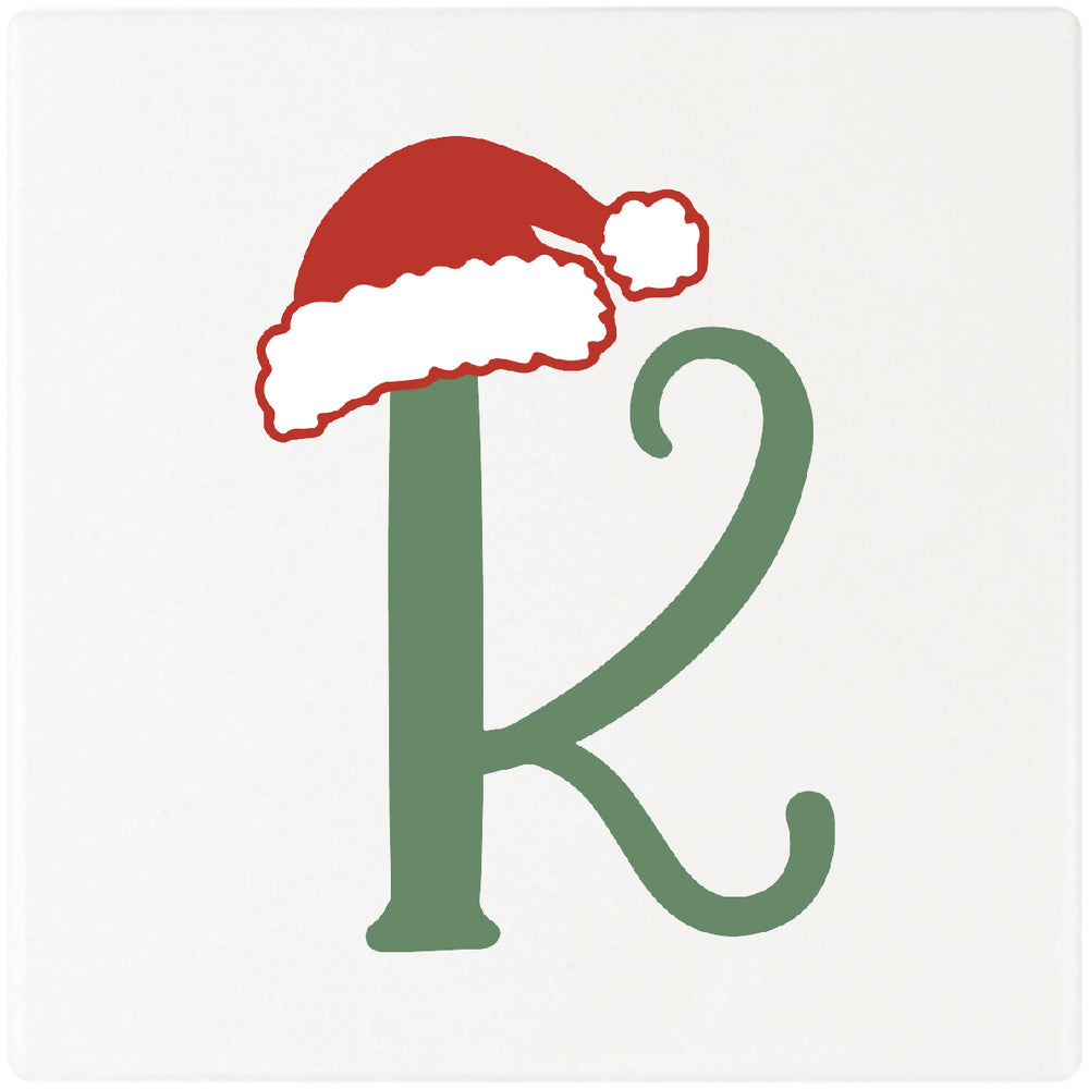 "Santa Hat Monogram Absorbent Ceramic 4"" Square Drink Coasters, Set of 4"
