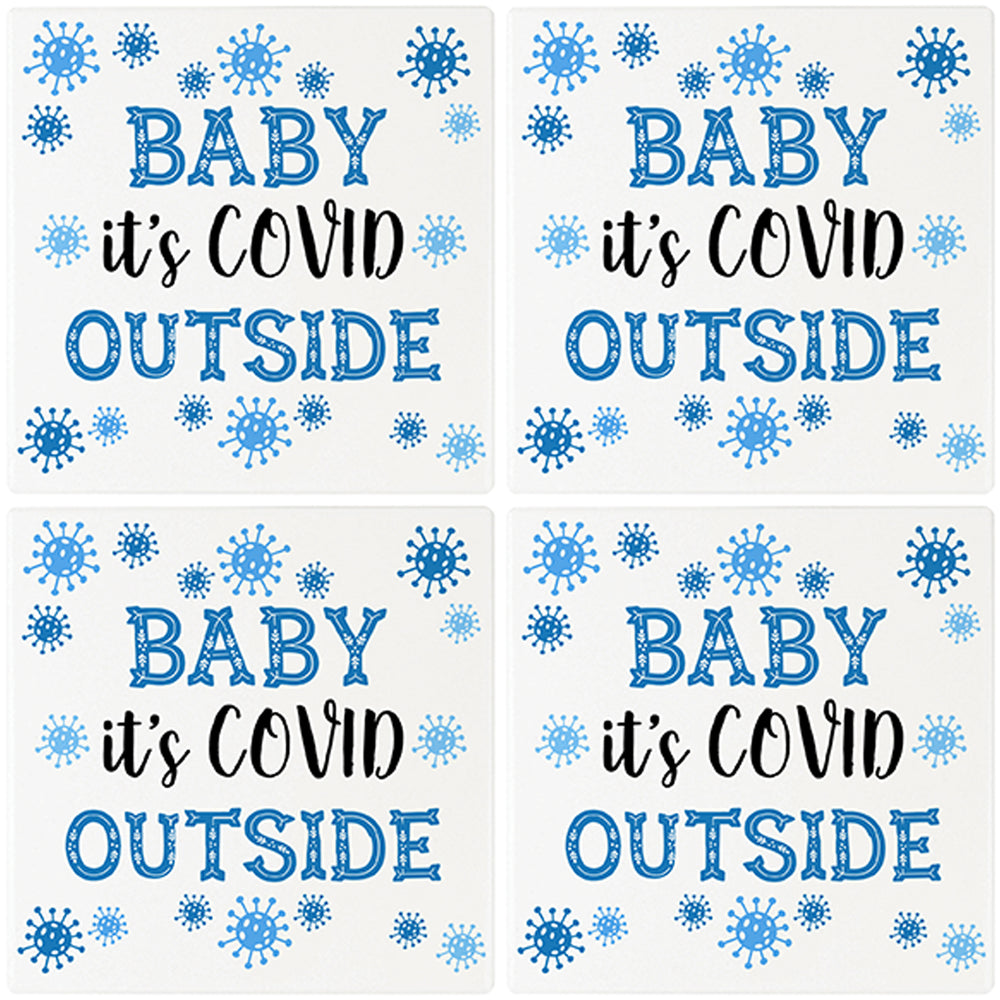"[Set of 4] 4"" Premium Absorbent Ceramic Square Christmas Holiday Humor Gift Housewarming Coasters - Baby It's Covid Outside"