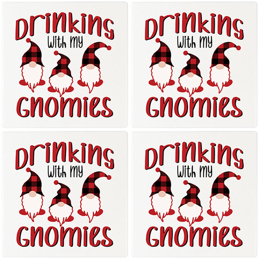 "[Set of 4] 4"" Premium Absorbent Ceramic Square Christmas Holiday Humor Gift Housewarming Coasters - Drinking With My Gnomies"