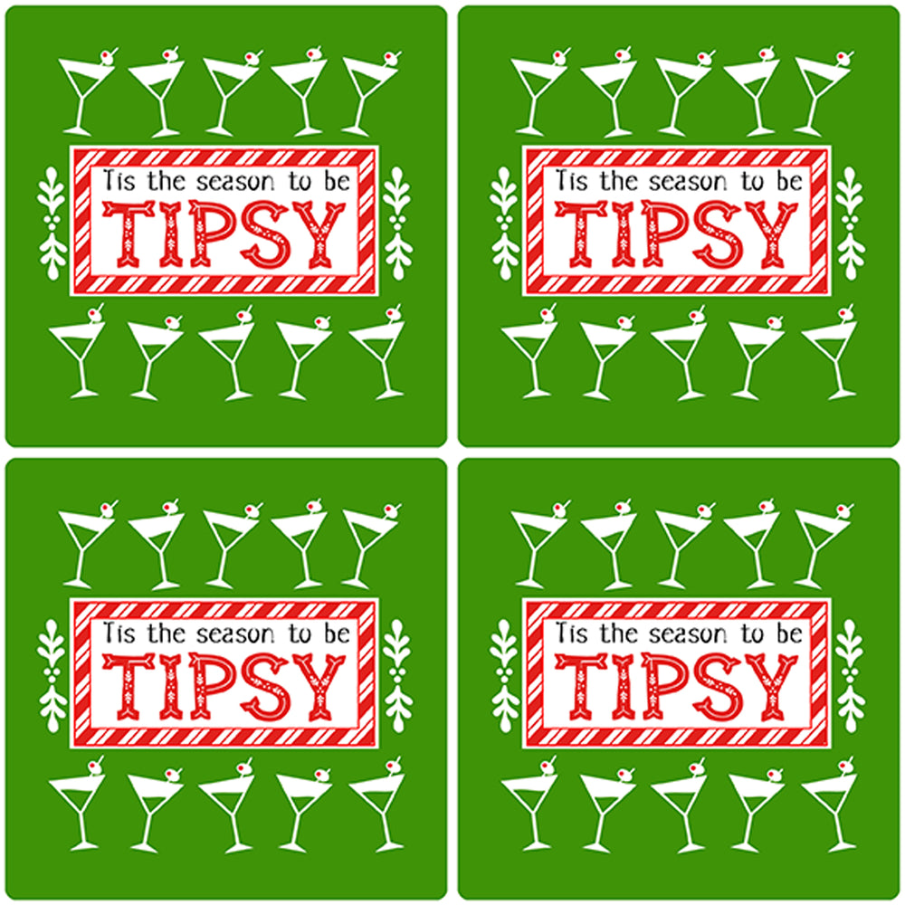 "[Set of 4] 4"" Premium Absorbent Ceramic Square Christmas Holiday Humor Gift Housewarming Coasters - Tis The Season To Be Tipsy"