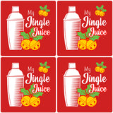 "[Set of 4] 4"" Premium Absorbent Ceramic Square Christmas Holiday Humor Gift Housewarming Coasters - My Jingle Juice"