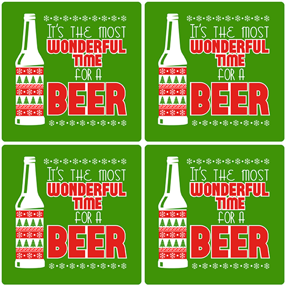 "[Set of 4] 4"" Premium Absorbent Ceramic Square Christmas Holiday Humor Gift Housewarming Coasters - It's The Most Wonderful Time For Beer"