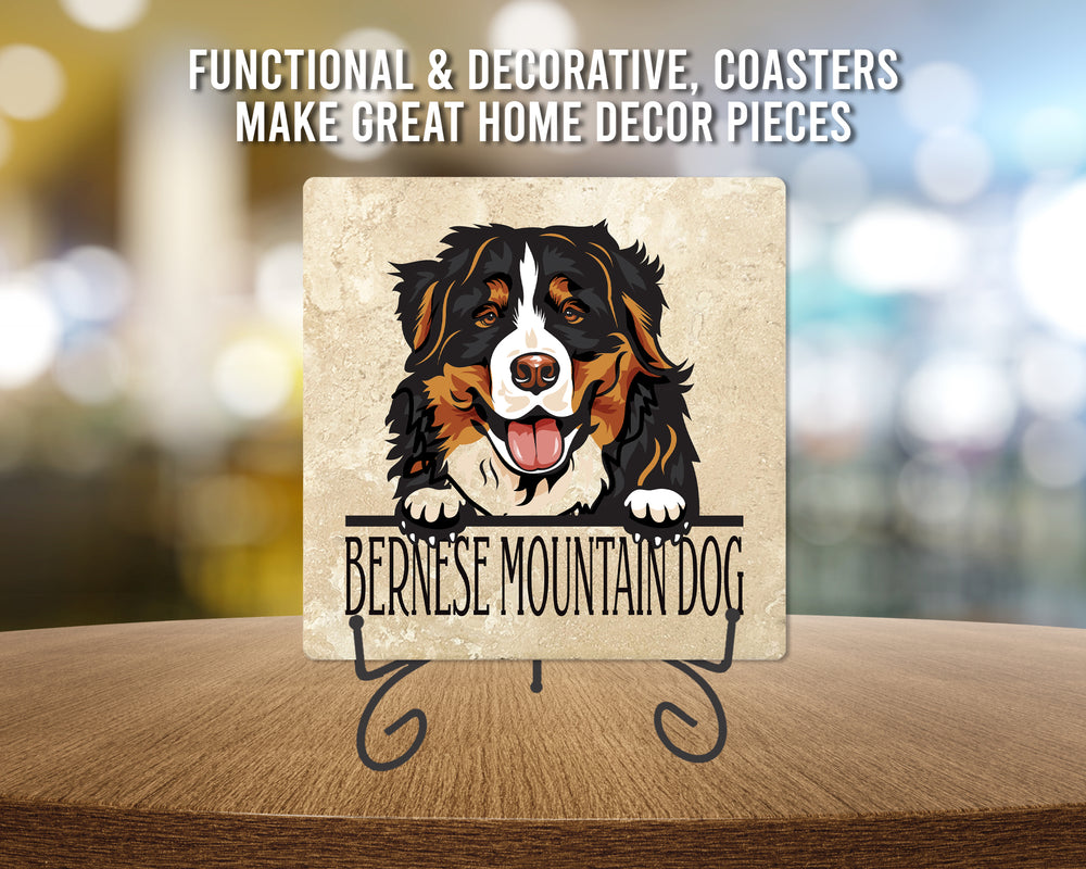 "[Set of 4] 4"" Premium Absorbent Travertine Dog Lovers Square Coaster - Bernese Mountain Dog"