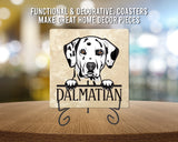 "[Set of 4] 4"" Premium Absorbent Travertine Dog Lovers Square Coaster - Dalmatian"