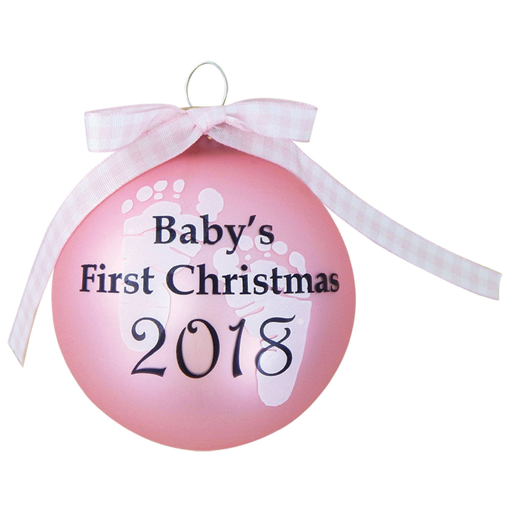 Pink Glass ornament with 2018 Baby's First Christmas