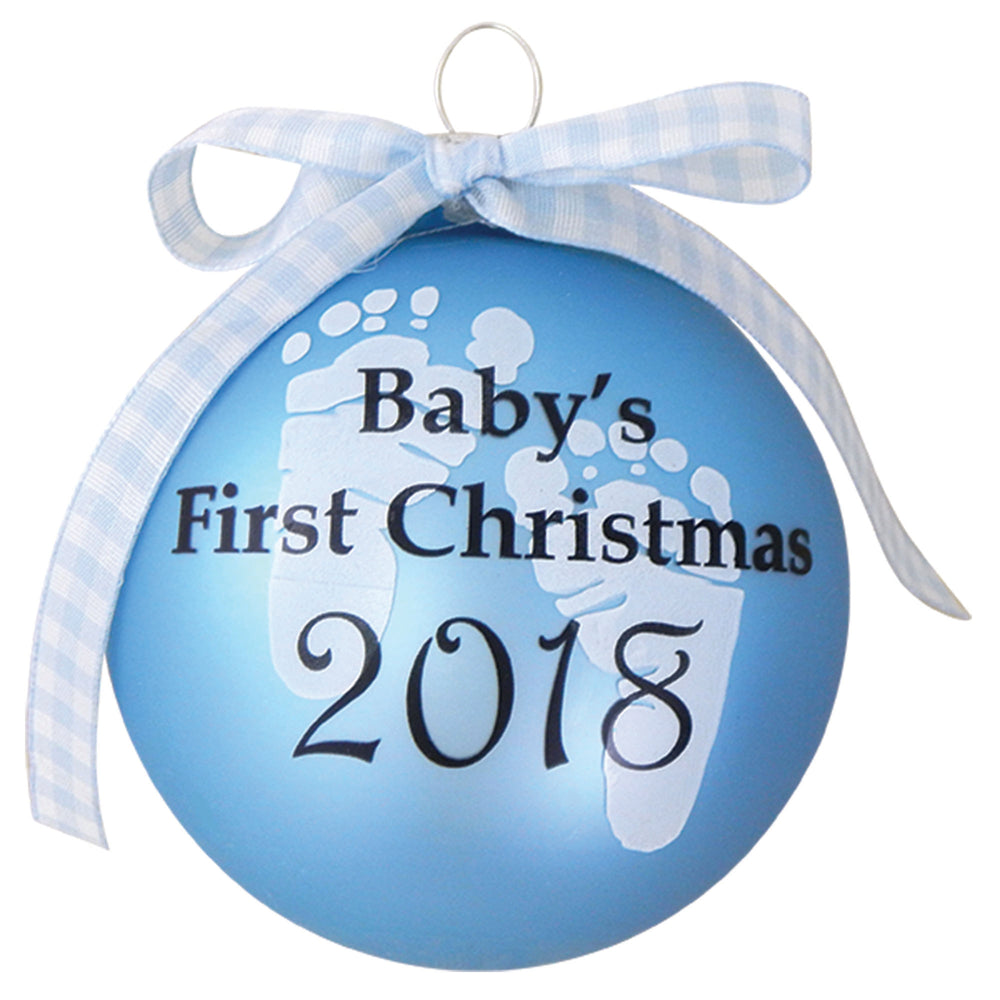 "Blue Glass ornaments with "" Baby's First Christmas 2018"" on the front"