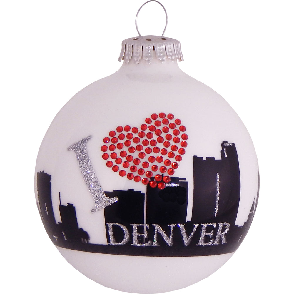 White ball glass ornament with Denver skyline and rhinestone heart