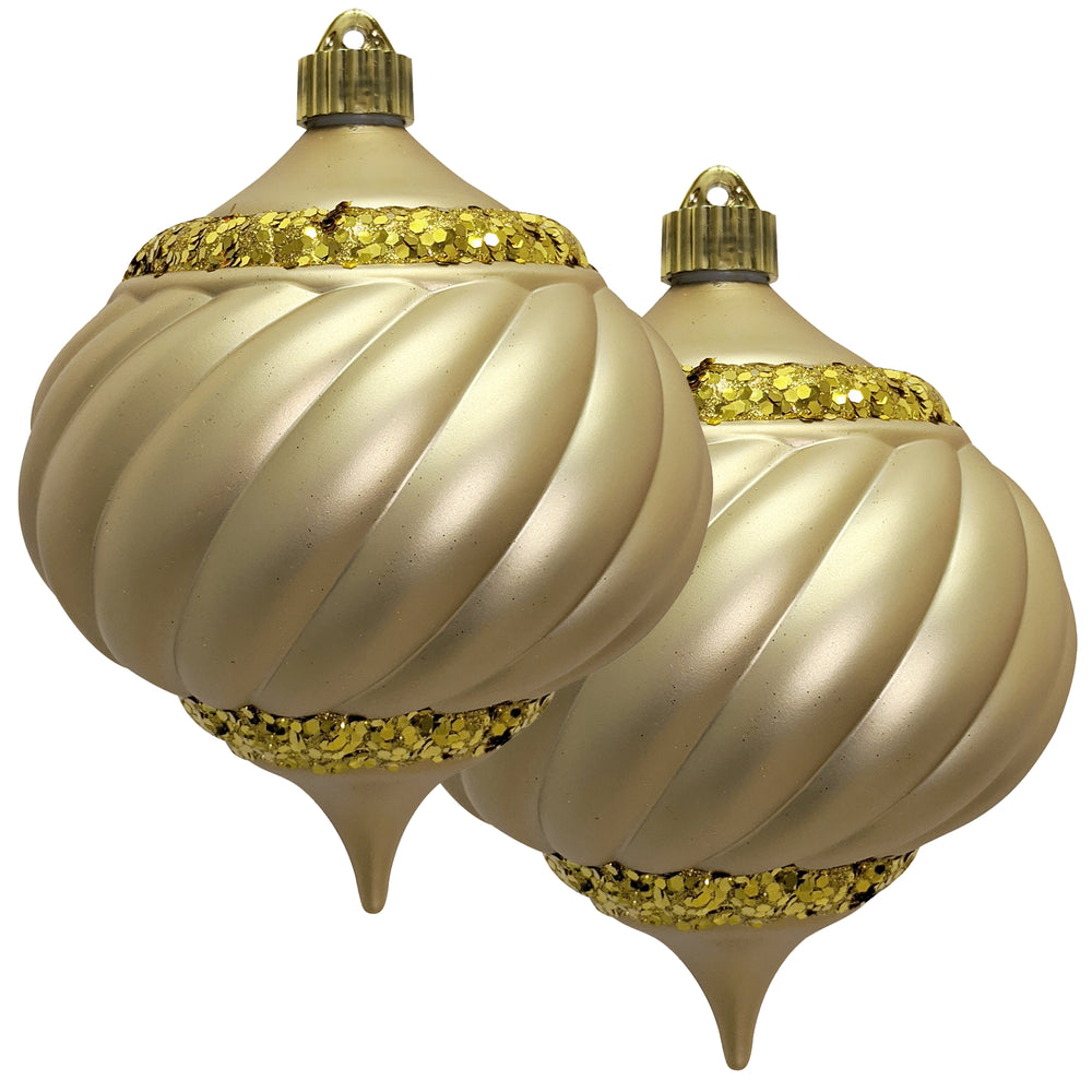 "2 Count - Christmas by Krebs 6"" (150mm) Shatterproof Plastic Swirled Onion Ornaments with Glitter Swirls"
