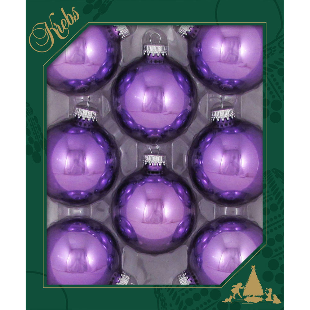 8 Amethyst Shine Glass ornaments in a green box