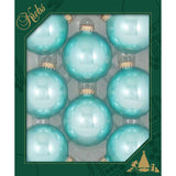 8 Water Lily Blue Glass ornaments in a green box