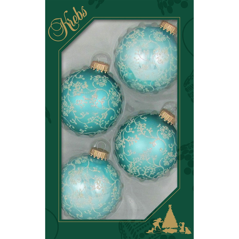 Four blue glass ornaments with silver glitter lace design