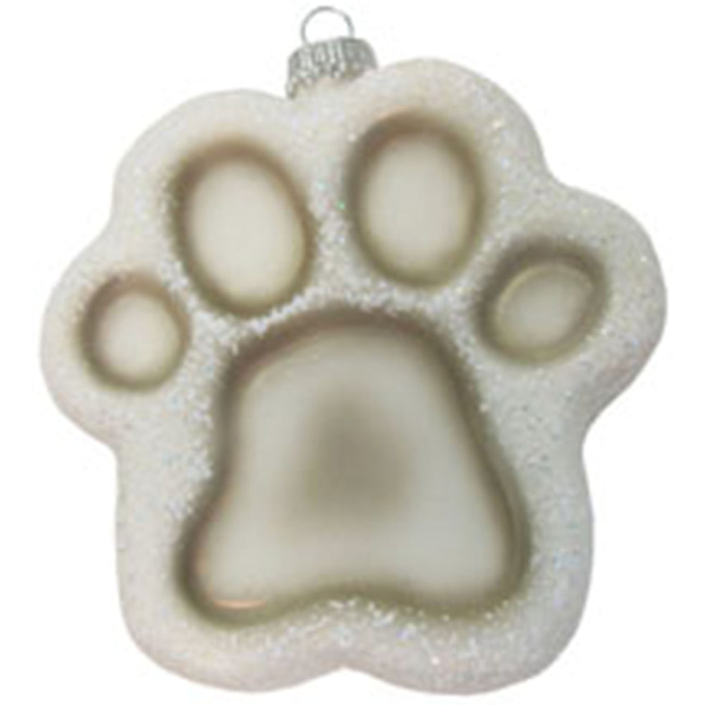 Puppy paw print figural glass ornaments
