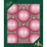 8 Tickled Pink Glass ornaments in a green box