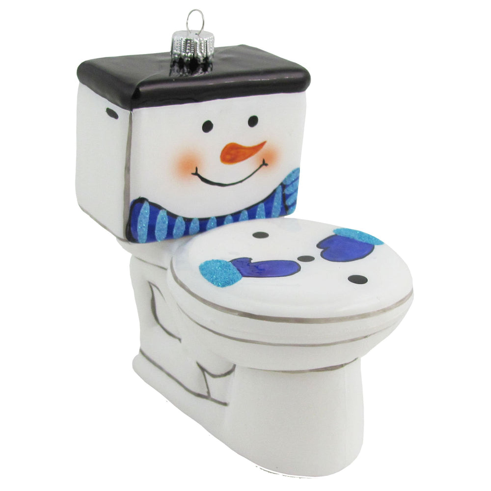 Toilet with snowman face figural glass ornaments
