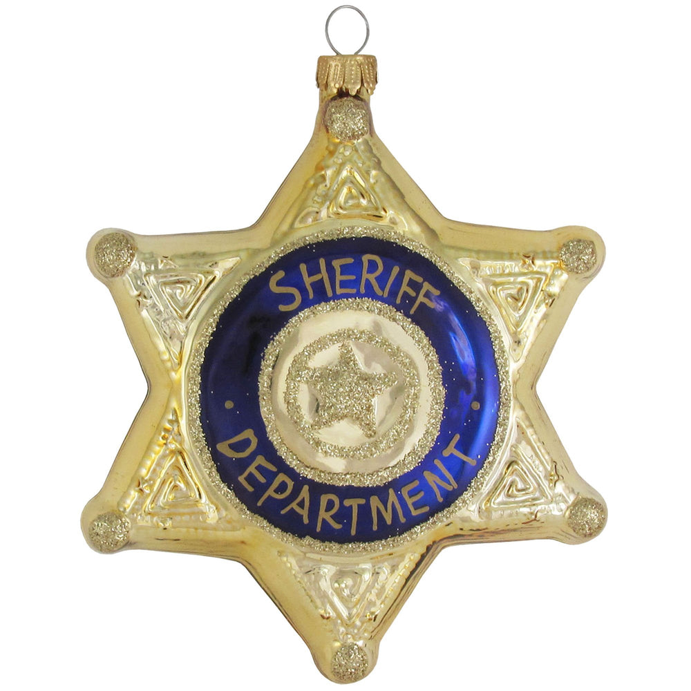 Sheriff's badge figural glass ornaments