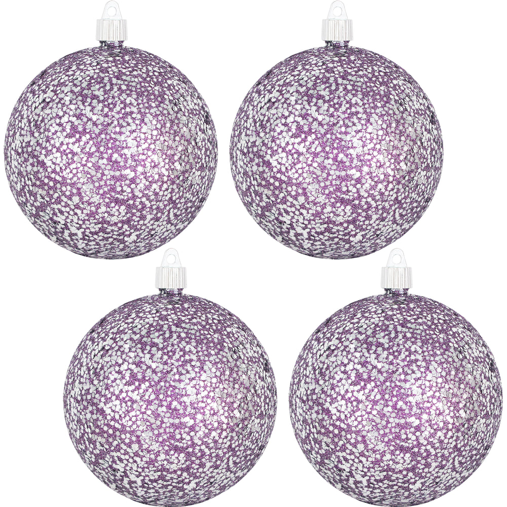 "[4 Pack] 4 3/4"" (120mm) Glitter/Glitz Finish Commercial Grade Shatterproof Ball Ornaments"