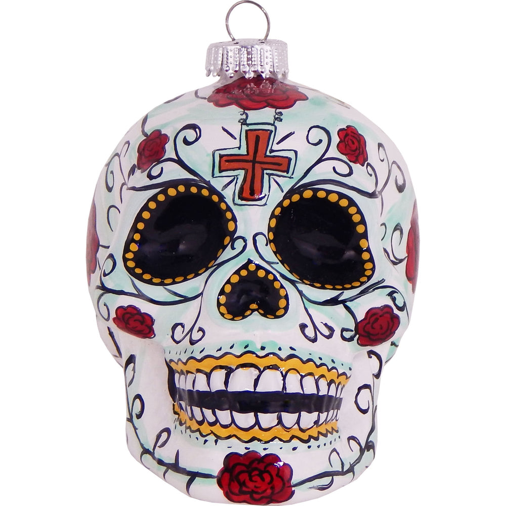 Candy skull figural glass ornaments