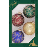 Red, Green, Gold, Blue Glass ornaments with gold glitter lace