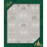 8 Clear Glass ornaments in a green box