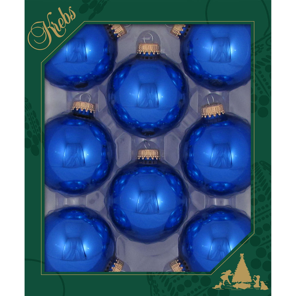 8 Victoria Blue Glass ornaments in a green box