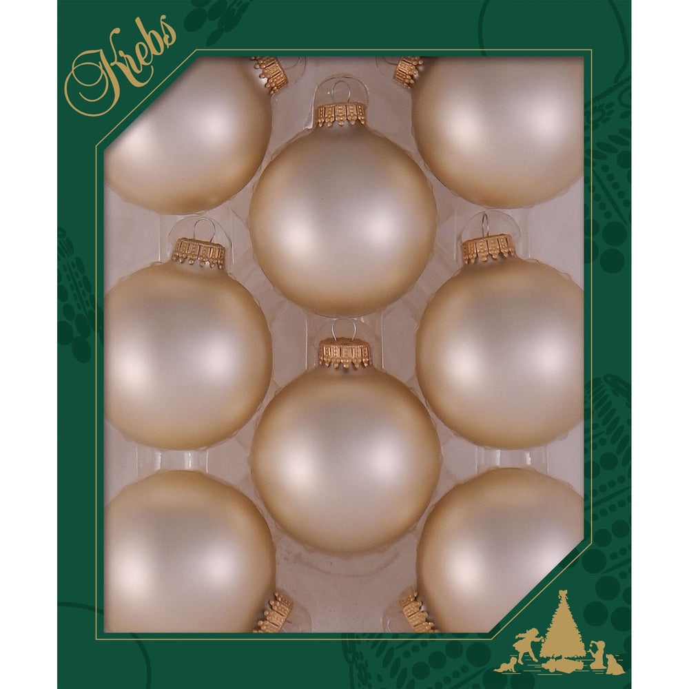 8 Oyster Velvet Glass ornaments in a green box