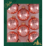 8 Tea Rose Pink Glass ornaments in a green box
