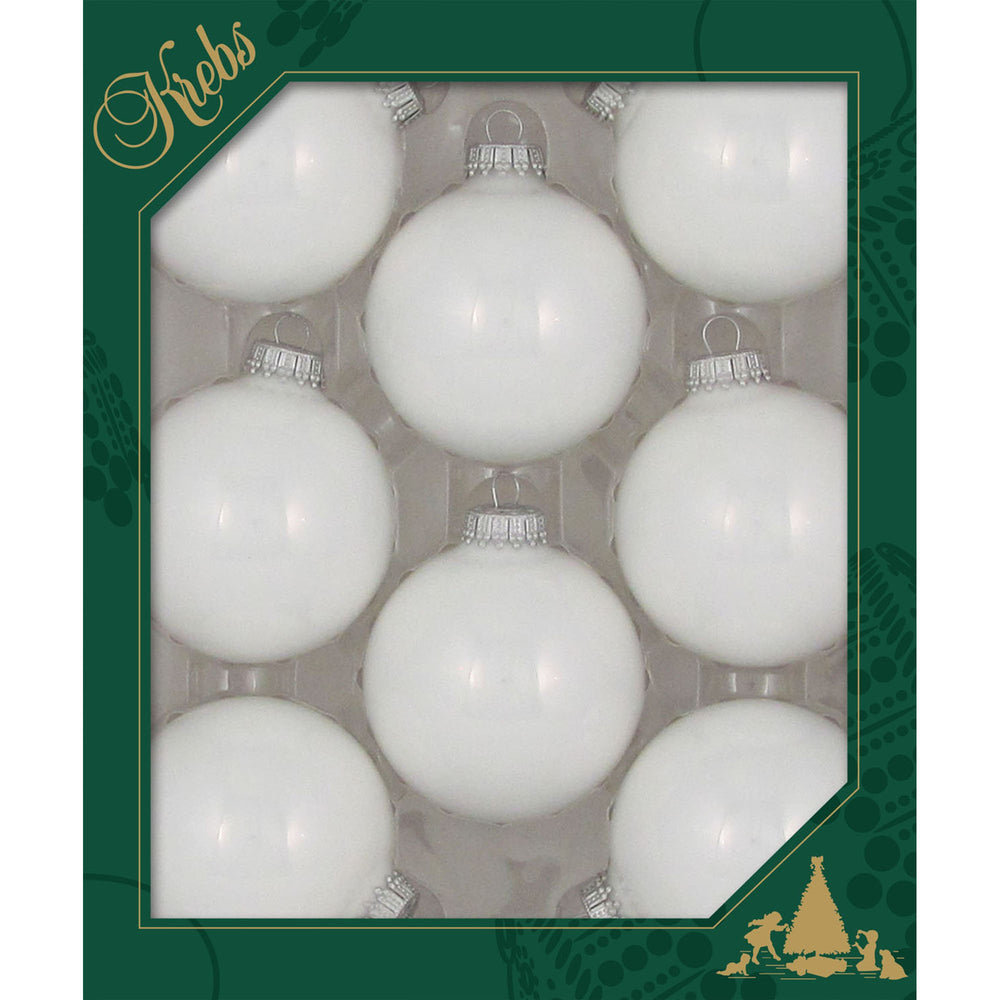 8 Porcelain White Glass ornaments in a green box