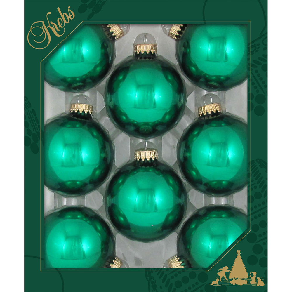 8 Emerald Green Glass ornaments in a green box