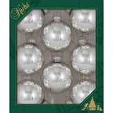 8 right Silver Glass ornaments in a green box