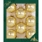 8 Aztec Gold Glass ornaments in a green box
