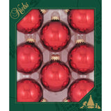 8 Christmas Red Glass ornaments in a green box