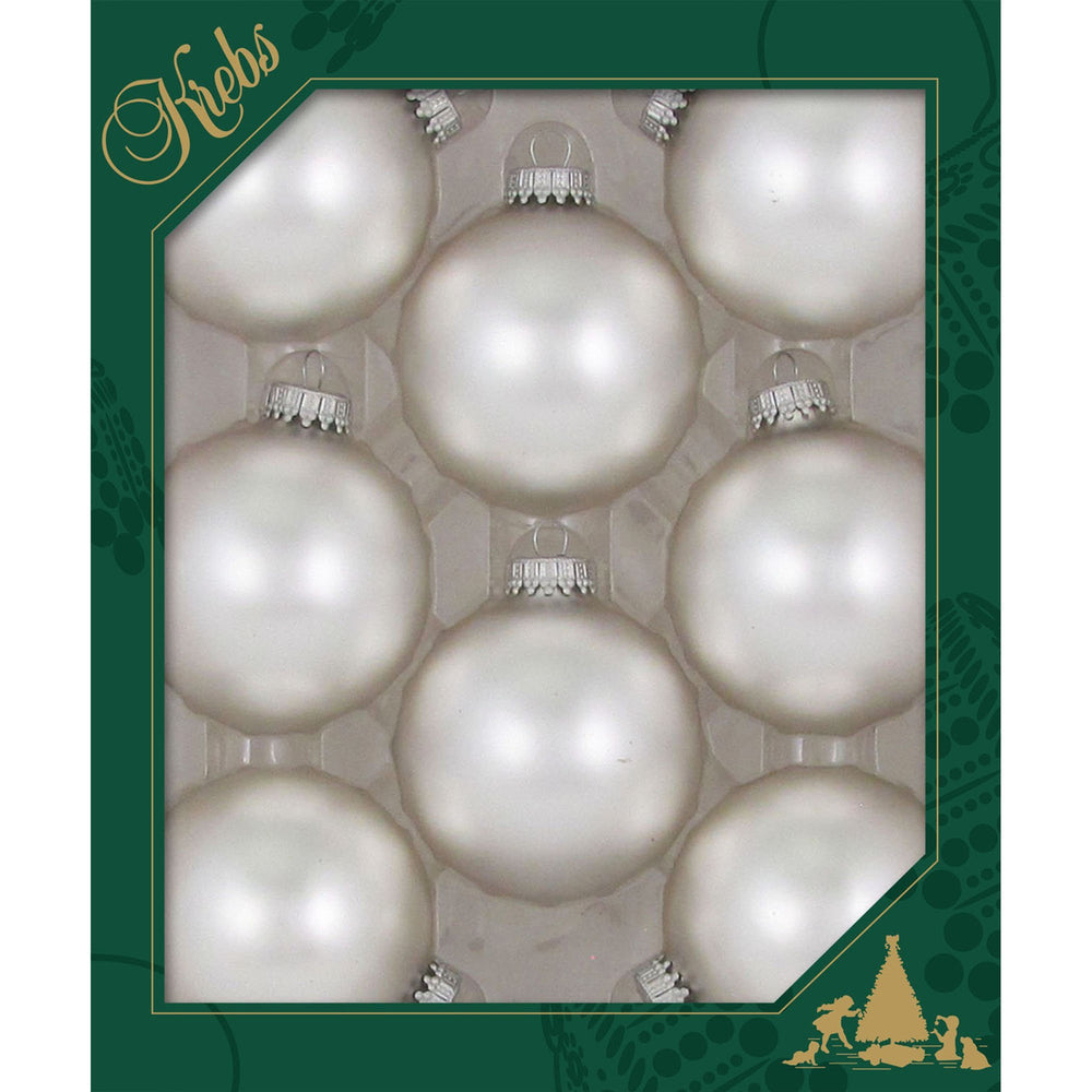 8 Sterling Silver Glass ornaments in a green box