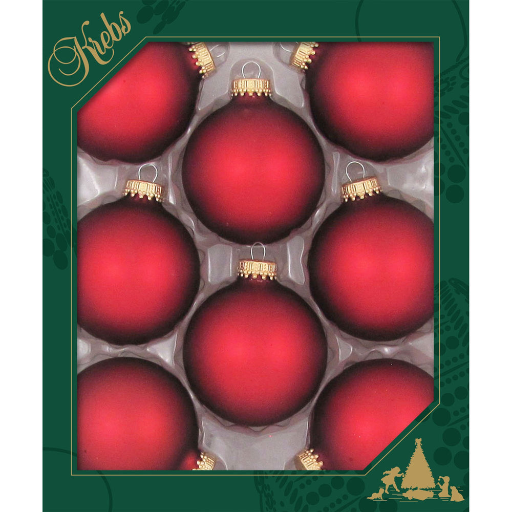 8 Red Velvet Glass ornaments in a green box