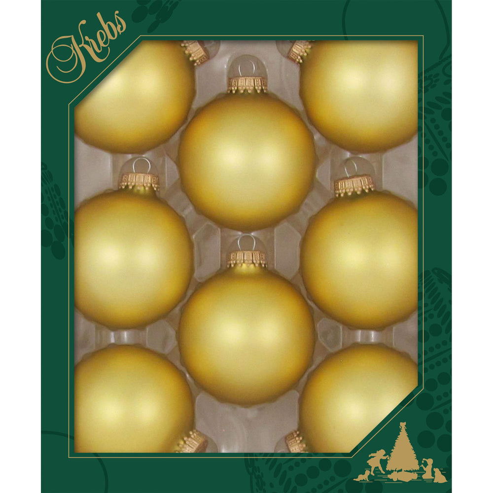 8 Gold Velvet Glass ornaments in a green box