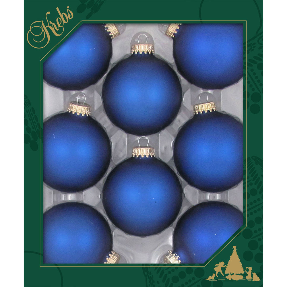 8 Royal Velvet Glass ornaments in a green box