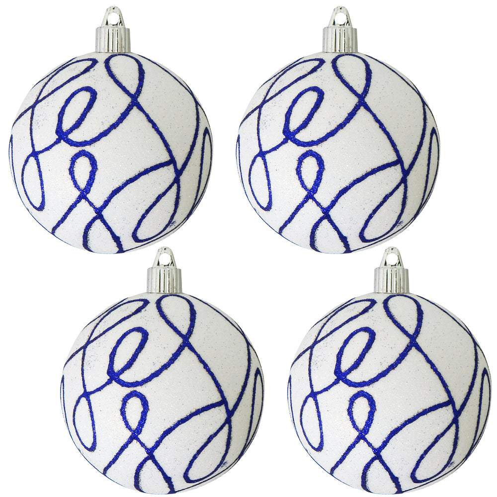 "[4 Pack] 4"" (100mm) Decorated Shatterproof Ball Ornaments"