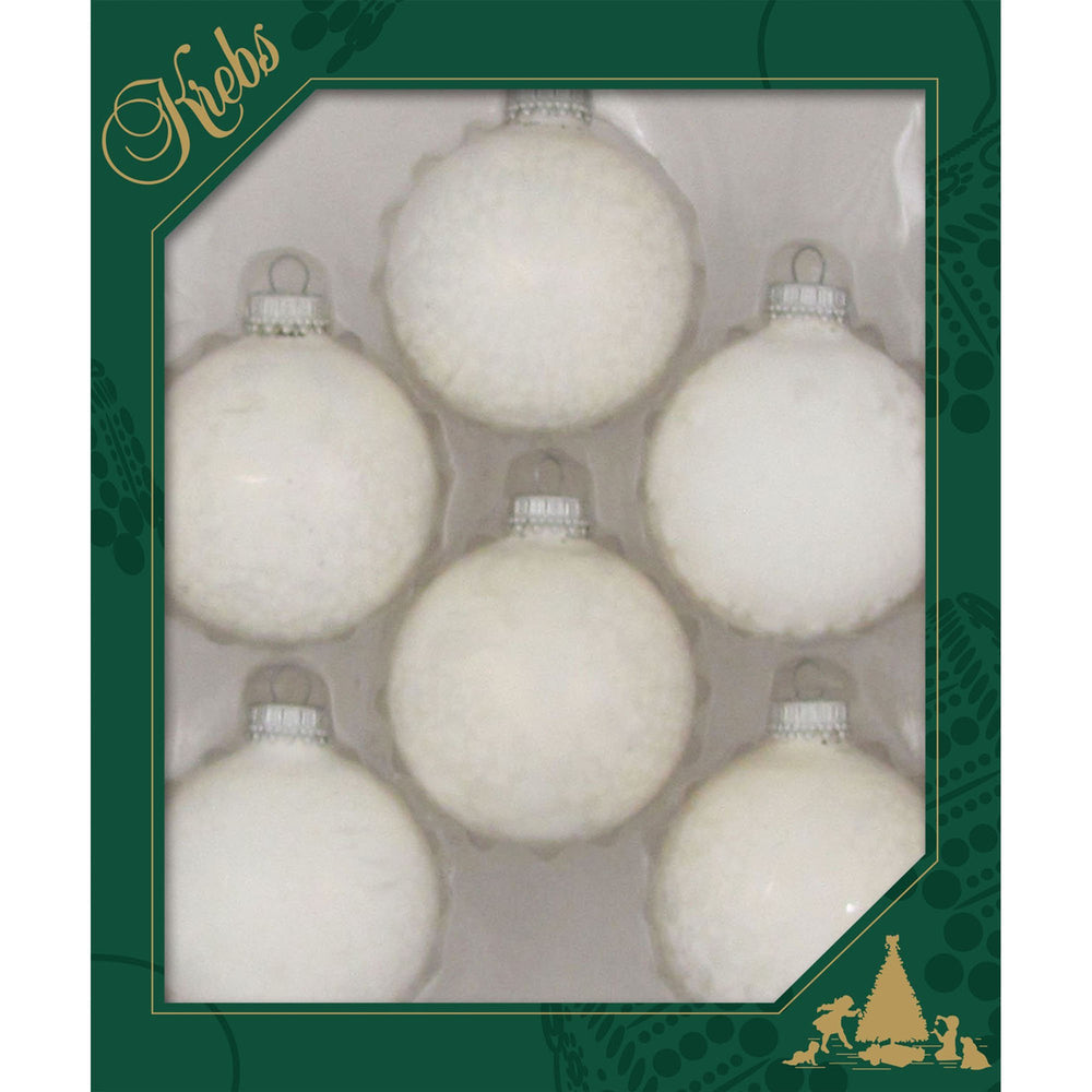 6 Pearl Icelock Glass ornaments in a green box