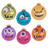 "6 Count - Christmas by Krebs 3 1/4"" Monster Faces & Emoji Glass Ornaments Assortment"
