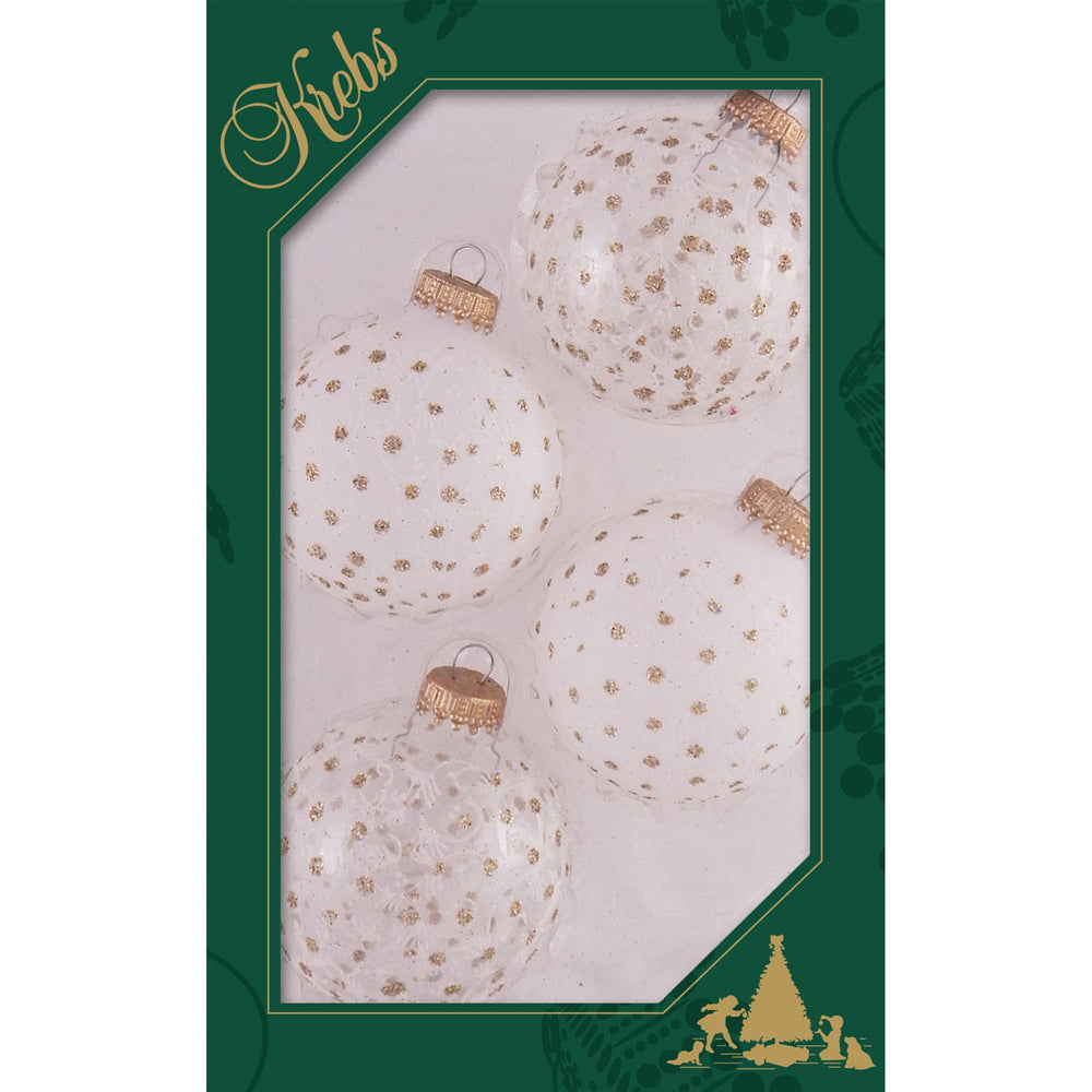 Clear and Frost glass ornaments with gold sparkles