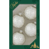 Four Silver Pearl and white lace glass ornaments