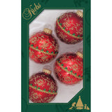 Four red glass ornaments with gold glitter and braid
