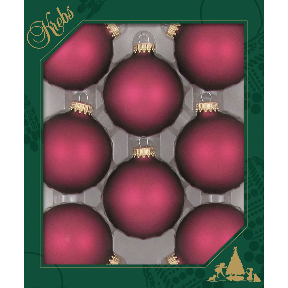 8 Canberry Glass ornaments in a green box