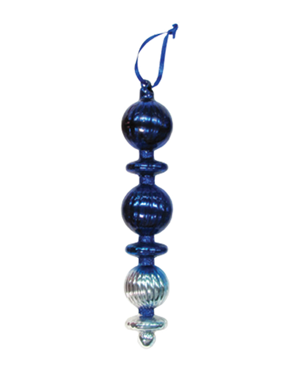 "8 3/4"" Large Ripple Ball and Disc Finial Glass Christmas Ornaments"