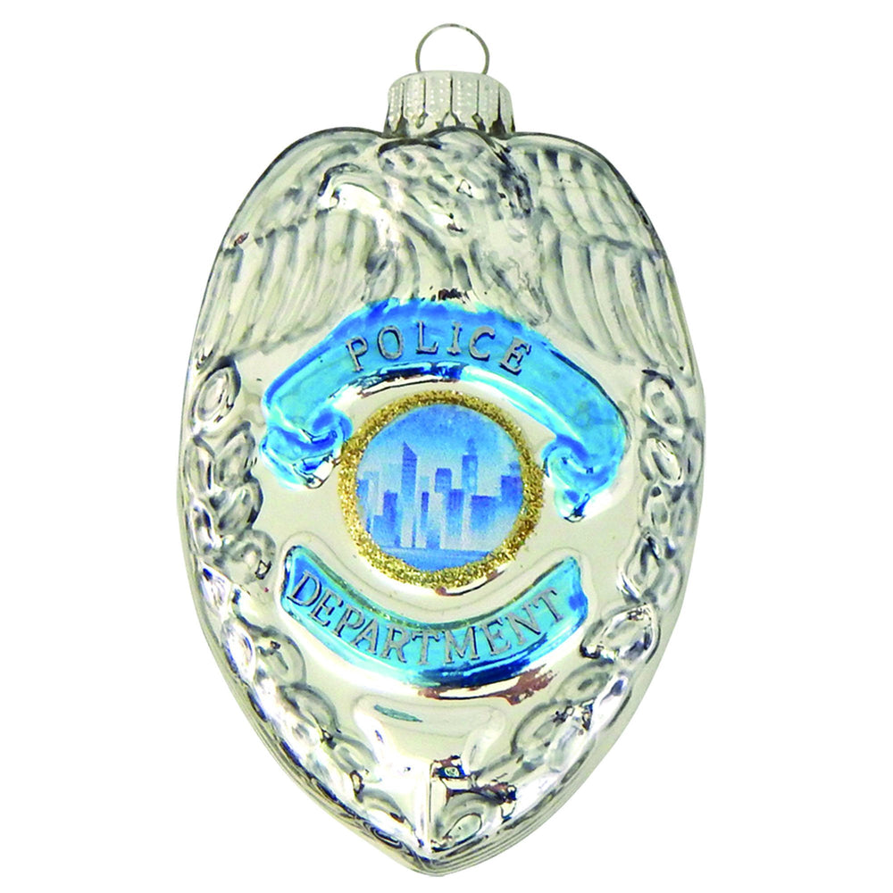 Front of Policeman's Badge Figural glass ornaments