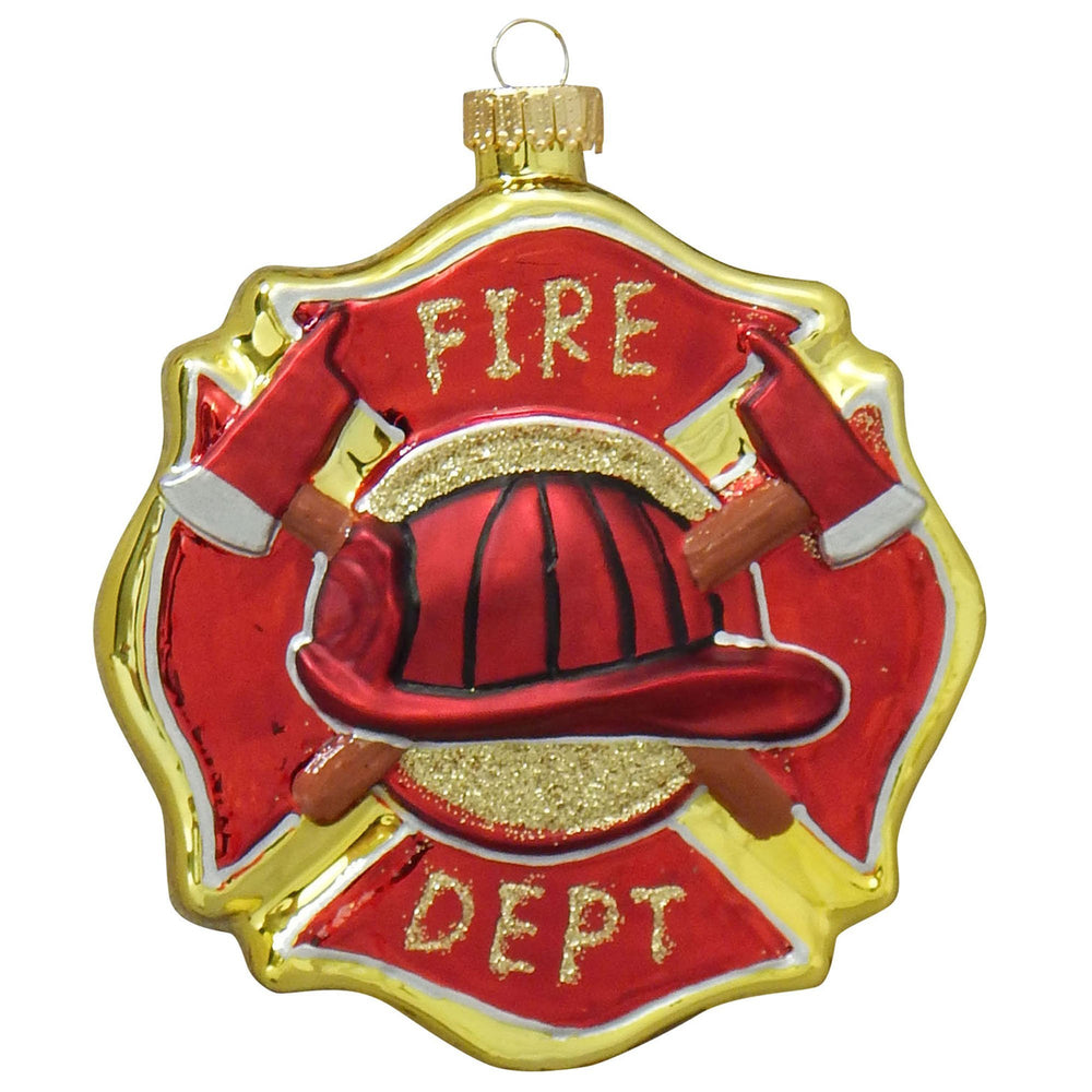 Fireman's Badge figural glass ornaments