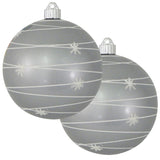 "2 Pack - 6"" (150mm) Decorated Commercial Grade Indoor Outdoor Shatterproof Plastic Ball Ornaments"